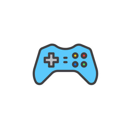Gamepad Joypad Icon Vector Filled Flat Sign Solid Colorful