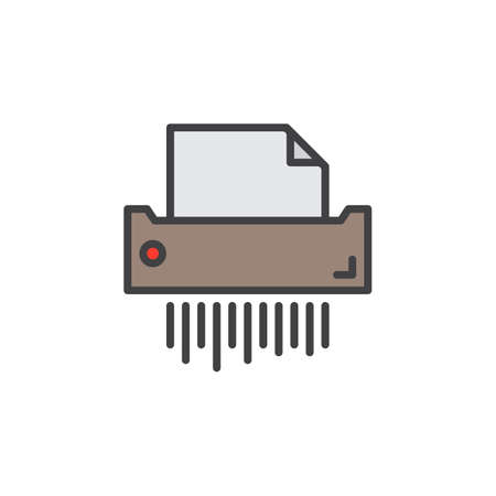 Paper shredder line icon, filled outline vector sign, linear pictogram isolated on white.