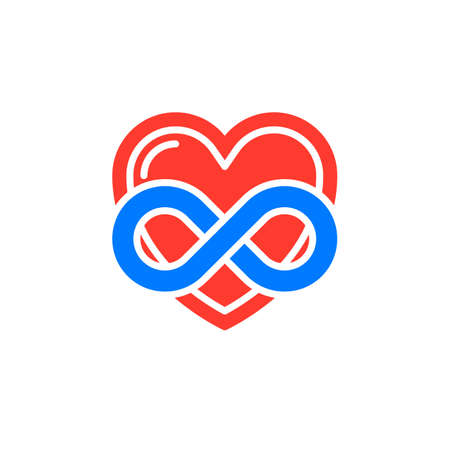 Eternal love icon vector, filled flat sign, solid colorful pictogram isolated on white. Heart with infinity symbol, logo illustration