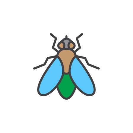 Ikona linii muchy, wypełnione zarys wektor znak, liniowy kolorowy piktogram na białym tle. Symbol, ilustracja logo
