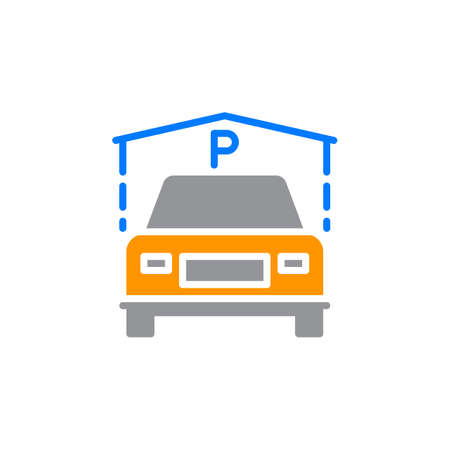 guest house: Indoor Guest Parking icon vector, filled flat sign, solid colorful pictogram isolated on white. Symbol, logo illustration