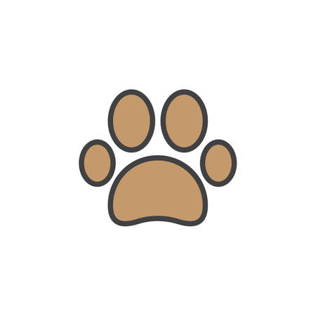 Paw line icon, filled outline vector sign, linear colorful pictogram isolated on white. Pet supplies symbol, logo illustration Vettoriali