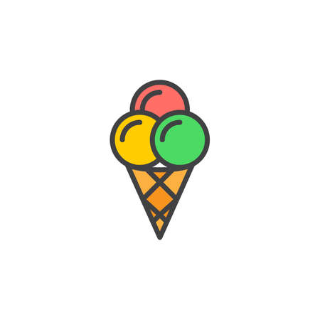 Ice cream cone line icon, filled outline vector sign, linear colorful pictogram isolated on white. Symbol, logo illustration