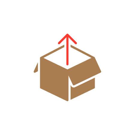 Boîte d'icône vecteur, rempli de signe plat, pictogramme coloré solide isolé sur blanc. Symbole de déballage, illustration de logo Banque d'images - 77417971