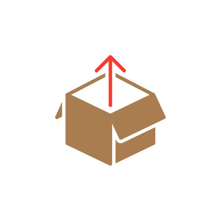 Box out icon vector, filled flat sign, solid colorful pictogram isolated on white. Unboxing symbol, logo illustration