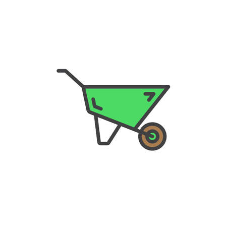 Wheelbarrow line icon, filled outline vector sign, linear colorful pictogram isolated on white. Symbol, logo illustration Illustration