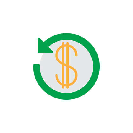 Dollar sign with arrow around icon vector, filled flat glyph, solid colorful pictogram isolated on white. Cashback symbol, logo illustration Illustration