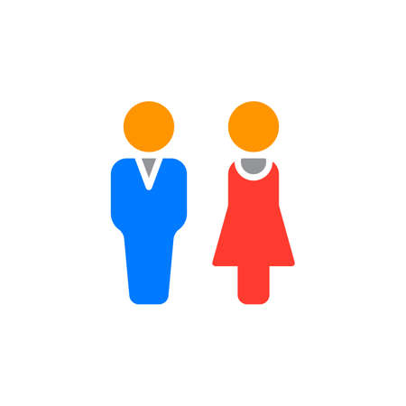 filled: Man and woman icon vector, filled flat sign, solid colorful pictogram isolated on white. Couple symbol, logo illustration Illustration
