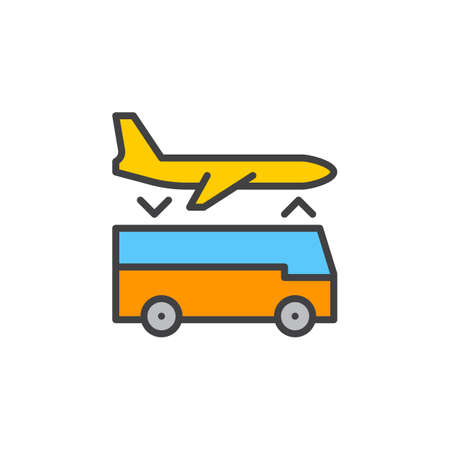 Airport shuttle transfer service line icon, filled outline vector sign, linear colorful pictogram isolated on white. Symbol, logo illustration Illustration