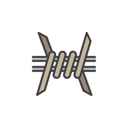 Barbed Wire line icon, filled outline vector sign, linear colorful pictogram isolated on white. Symbol, logo illustration Illustration