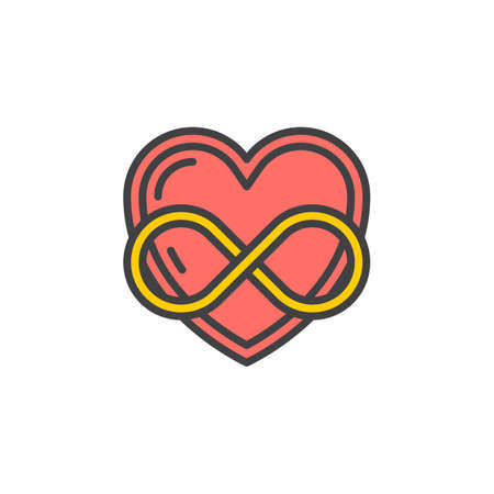 Eternal love line icon, filled outline vector sign, linear colorful pictogram isolated on white. Heart with infinity symbol, logo illustration