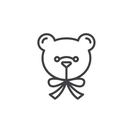 Soft toy line icon, outline vector sign, linear pictogram isolated on white. Teddy bear symbol, logo illustration
