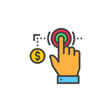 Hand using touch screen and coin line icon, filled outline vector sign, linear colorful pictogram isolated on white. Pay per click symbol, logo illustration Vettoriali