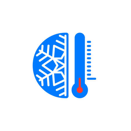Thermometer and snowflake icon vector, filled flat sign, solid colorful pictogram isolated on white. Cold temperature symbol, logo illustration