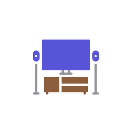 cinema screen: TV, home theater icon vector, filled flat sign, solid colorful pictogram isolated on white. Symbol, logo illustration Illustration