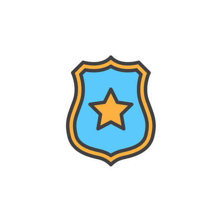 Sheriff badge with star line icon, filled outline vector sign, linear colorful pictogram isolated on white. Public safety symbol, logo illustration