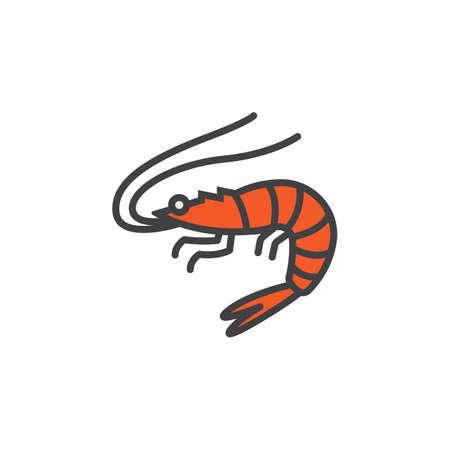 Shrimp, Prawn line icon, filled outline vector sign, linear colorful pictogram isolated on white. logo illustration