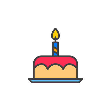 Birthday cake line icon, filled outline vector sign, linear colorful pictogram isolated on white. logo illustration Illustration