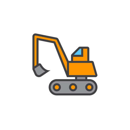 Excavator, crawler digger line icon, filled outline vector sign, linear colorful pictogram isolated on white. logo illustration