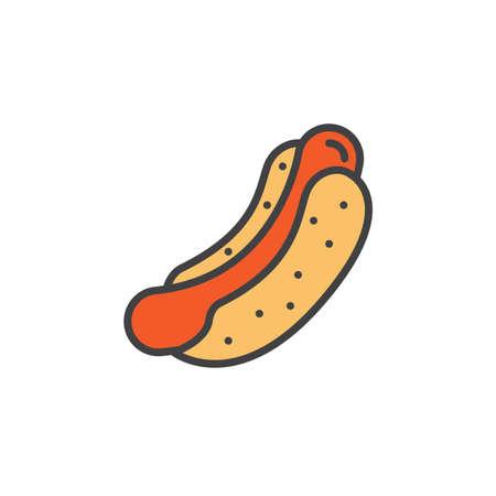 Hot dog、ソーセージ サンドイッチ ライン アイコンを調理すると、塗りつぶされたアウトライン ベクトル署名、線形のカラフルなピクトグラムを白で