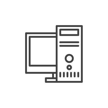 Desktop computer, workstation line icon, outline vector sign, linear style pictogram isolated on white. Symbol, logo illustration. Editable stroke. Pixel perfect