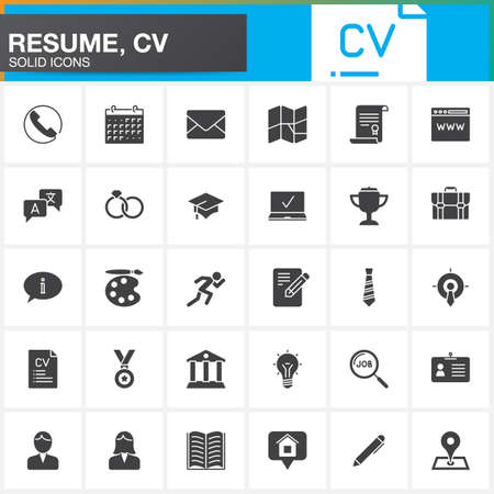 Vector icons set for Resume or CV. Modern solid symbol collection, filled pictogram pack isolated on white, logo illustration Vectores
