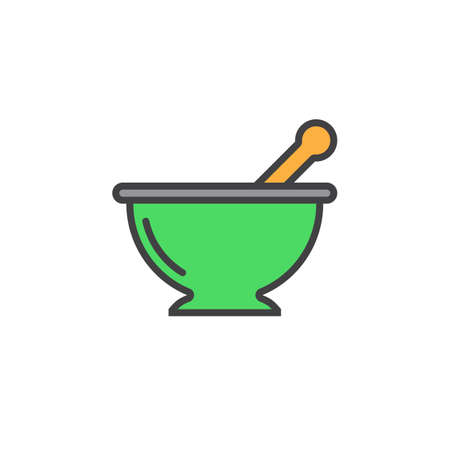 Mortar and pestle line icon, Kitchen pounder filled outline vector sign, linear colorful pictogram isolated on white. logo illustration Illustration