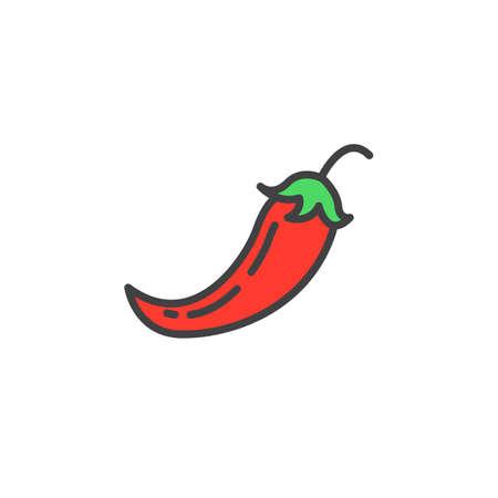 Chili peper lijn pictogram, gevulde omtrek vector teken, lineaire kleurrijke pictogram geïsoleerd op wit. logo afbeelding
