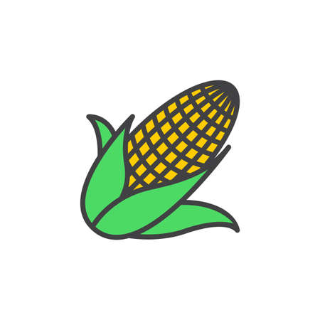 Maize, Corn line icon, filled outline vector sign, linear colorful pictogram isolated on white. logo illustration Illustration