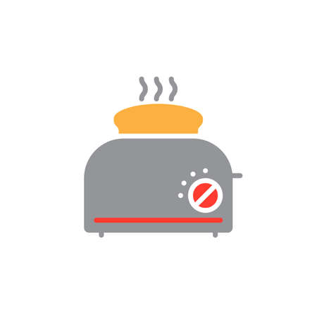 Toaster with toast icon vector, solid flat sign, colorful pictogram isolated on white, logo illustration