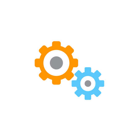 solid: Settings icon vector, gears solid logo illustration, cog wheels pictogram isolated on white