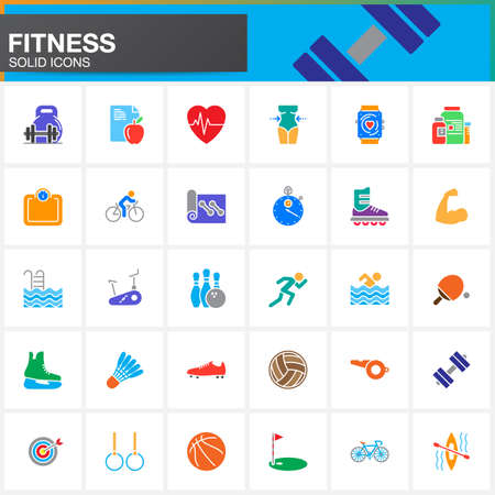Fitness vector icons set, modern solid symbol collection, pictogram pack isolated on white, colorful logo illustration
