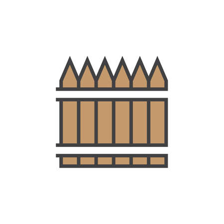 wooden fence line icon, railing filled outline vector sign, linear colorful pictogram isolated on white. logo illustration