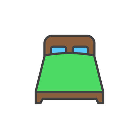 double bed line icon, filled outline vector sign, linear colorful pictogram isolated on white, logo illustration