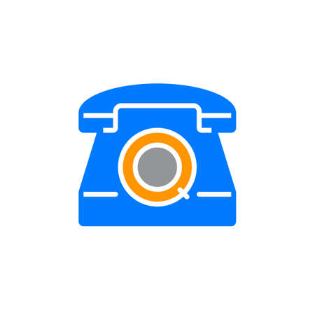 solid: telephone icon vector, old phone solid sign, colorful pictogram isolated on white. logo illustration