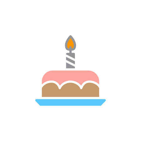 Birthday cake icon vector, filled flat sign, solid colorful pictogram isolated on white, logo illustration