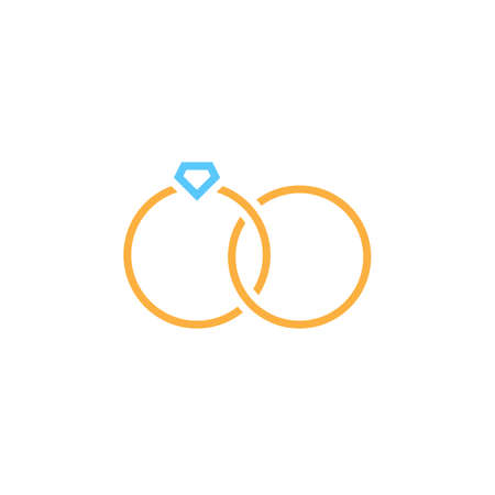 Marital status line icon, wedding rings outline vector sign, linear colorful pictogram isolated on white. logo illustration 向量圖像