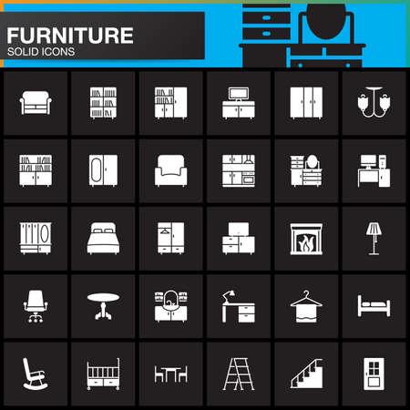 Furniture vector icons set, Home Interior modern solid symbol collection, pictogram pack isolated on black, logo illustration Illustration