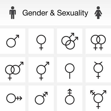 Gender & Sexuality types. line icons set, outline vector symbol collection, linear pictogram pack isolated on white for web and mobile, logo illustration