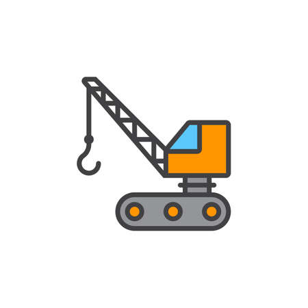 crawler crane line icon, filled outline vector sign, linear colorful pictogram isolated on white. logo illustration Illustration