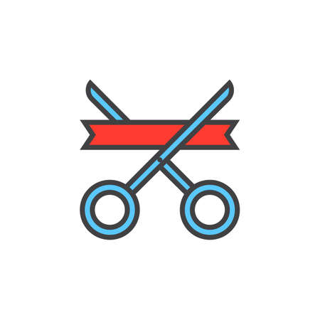 filled: Grand opening symbol. ribbon and scissors line icon, filled outline vector sign, linear colorful pictogram isolated on white, logo illustration Illustration
