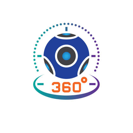 360 degree panoramic video camera icon vector, virtual reality device solid logo illustration, pictogram isolated on white