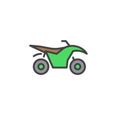 Quad bike line icon, filled outline vector sign, linear colorful pictogram isolated on white. logo illustration