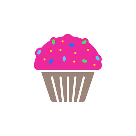 Cupcake icon vector, filled flat sign, solid colorful pictogram isolated on white, logo illustration