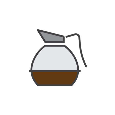 decanter: Coffee Decanter line icon, filled outline vector sign, linear colorful pictogram isolated on white. logo illustration Illustration