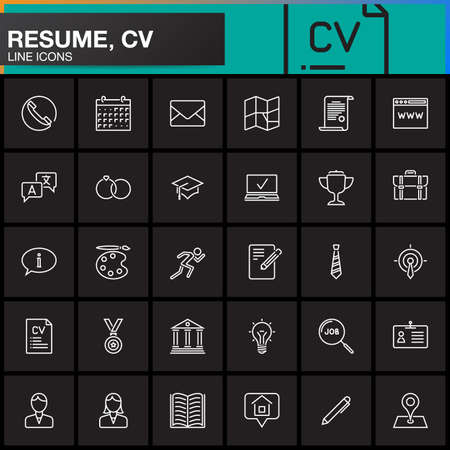 Line Icons set for Resume or CV. Outline vector symbol collection, linear pictogram pack isolated on black, logo illustration 일러스트