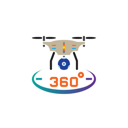 drone quadrocopter with 360 degree panoramic camera icon vector, solid logo illustration, pictogram isolated on white