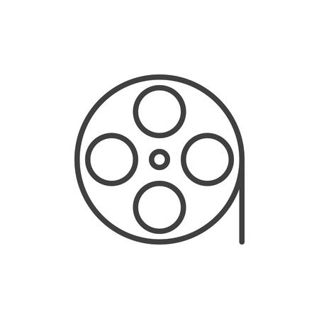 Film Reel With Heart Frame Line Icon, Outline Vector Sign, Linear ...