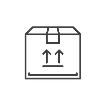 aligned: Parcel  box line icon, outline vector sign, linear style pictogram isolated on white. Symbol, logo illustration. Editable stroke. Pixel perfect