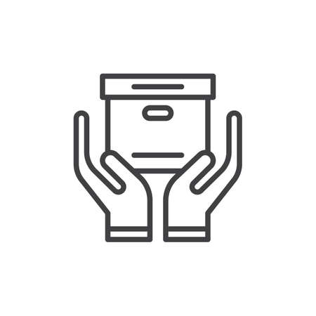 aligned: Hands holding box line icon, outline vector sign, linear style pictogram isolated on white. Handle with care symbol, logo illustration. Editable stroke. Pixel perfect